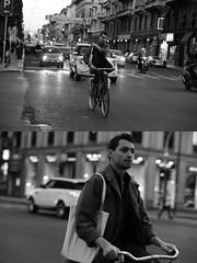 [La Mia Citt][Pedala] (Urca) Tags: milano italia 2016 bicicletta pedalare ciclista ritrattostradale portrait dittico bicycle bike biancoenero blackandwhite bn bw nikondigitale mir 889116