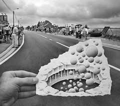 Pencil Vs Camera - 45 (Ben Heine) Tags: road street light people house art fall strange look mystery architecture danger composition photography countryside fly sketch vanishingpoint construction chaos hand hole belgium cloudy outdoor drawing surrealism destruction main crowd under apocalypse creative stripe atmosphere bubbles bowl structure route creation illusion caution unknown layer reality imagination intersection imaging behind foule tourdefrance rise nuage campagne bizarre opticalillusion hold parallelworld boule imagery proxy vide derrière ambiance macadam weightlessness couche asphalte pointdefuite apesanteur endessous benheine braives samsungnx10 pencilvscamera