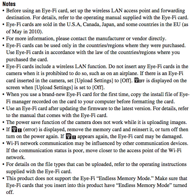 Complete instructions on using an Eye-Fi SD / SDHC memory card in the Sony A580 Manual