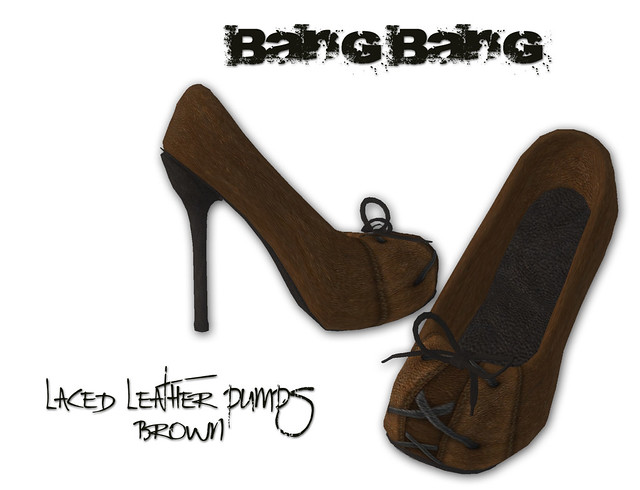 Bang Bang - Laced leather pumps - brown