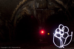 Ghost Flower (Mondino1980) Tags: blue light shadow red 3 vortex man flower london wool wheel train fire jump wire rust track ghost orb 8 tunnel led raymond lay armed connaught mondino murphyz