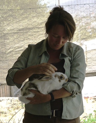 Christina with one of her rabbits