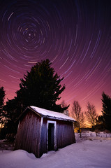 Polaris (Joni N) Tags: old longexposure trees winter sky snow cold night finland stars purple pentax arctic astrophotography magical sauna startrails k5 polaris 10mm sigma1020 pohjanthti umi pentaxk5 5363sec