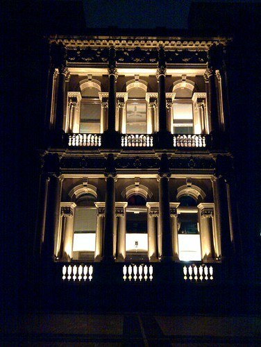 Old Commerce building, University of Melbourne, at night