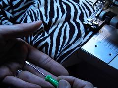 Pulling needle threads thru