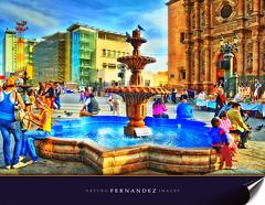 afuera de Catedral   Chihuahua (Arturo Fernandez) Tags: chihuahua mexico gente fuente catedral iglesia hdr cleto3