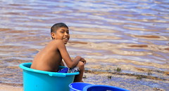 minibath (DariaAlaeva) Tags: blue boy latinamerica water colors kid bath aqua locals venezuela lagoon basin indians canaima