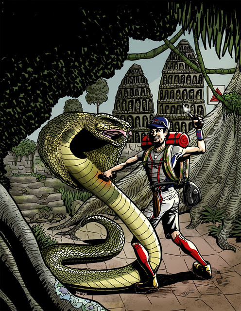 Josh Beckett fighting a giant cobra