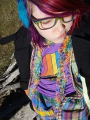 The sun was too bright (Megan is me...) Tags: blue red portrait orange lake color green colors smile fashion rose yellow self hair effects photography one diy clothing crazy rainbow eyes colorful neon pretty colours russell bright unique awesome meg violet plum megan style nuclear special clothes kind fishbowl iguana jerome colored mayhem punky striped bleached dyed napalm sfx berryessa rosered megface meganisme bleachednapalmorange