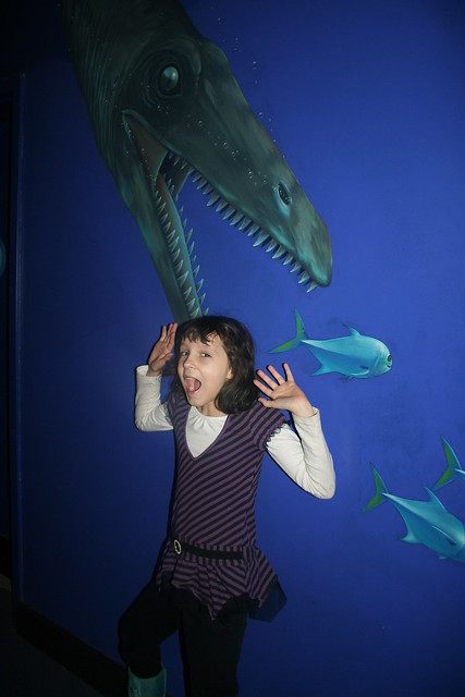 Newport Aquarium:  Maya and a leopleuridon