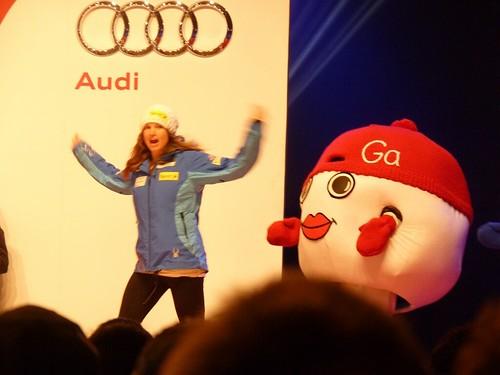 Julia Mancuso bei der Nummernauslosung, Frauen - Ski-WM, Tag 6