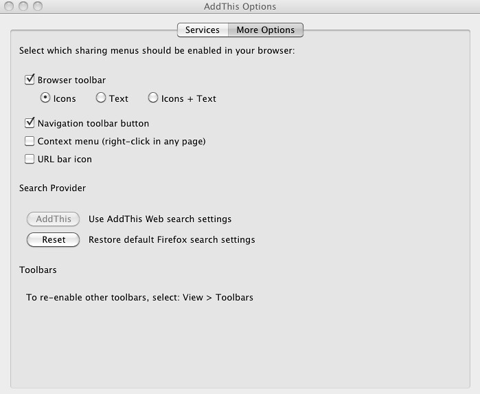Customize The AddThis for Firefox Toolbar - AddThis