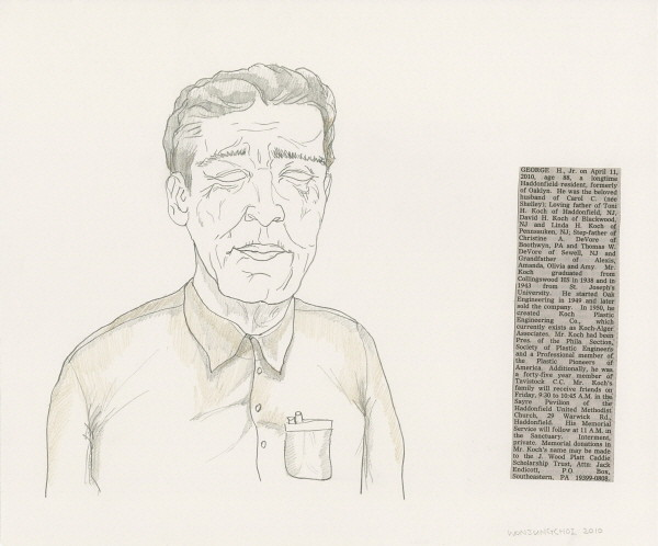 10 x 12 inches, Newspaper, Pencil and color pencil on paper, 2010