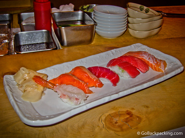 Nigiri (from left): prawn, salmon, tuna, fatty tuna, salmon belly