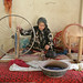 Old woman spinning wool - Hotan, Xinjiang