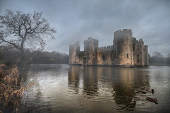 Misty Morning (murphyz) Tags: mist lake tree castle fog ducks bodiam nationaltrust