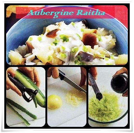 Making of Aubergine Raitha