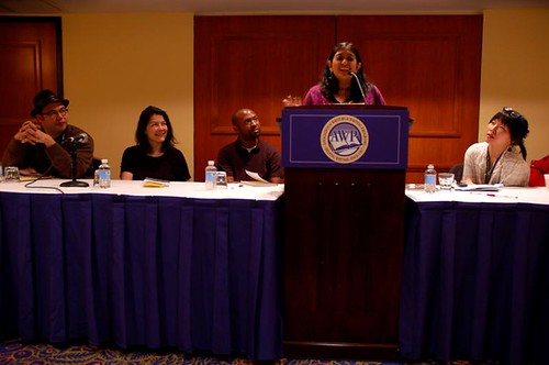 Purvi Shah speaking at the Asian American First [Poetry] Books panel.