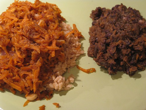 Stir fry sweet potatoes and refried black beans