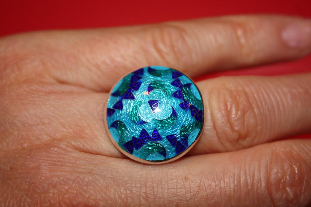 Sterling Silver Cloisonne Enamel Ring $70