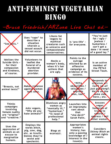 Bingo Card (Anti-Feminist Vegetarian Bingo 1) - Bruce Friedrich's AR Zone chat