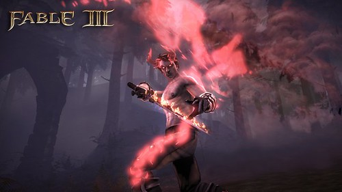 "Screencap from Lionhead Studio's Fable III. Example of a male PC whose morality is extremely ""evil"". The PC is shown with darker skin that is glowing red. He has begun to sprout glowing red horns and red glowing wings. His tattoos also glow red, and his sword is flaming red."
