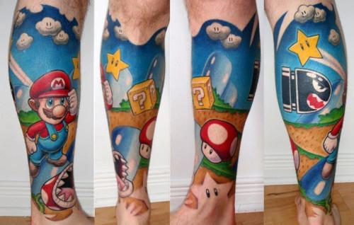tatuaje super mario bros