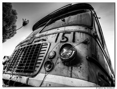 My left eye growing up (Jordan_K) Tags: old urban bw black bus eye abandoned beauty car photography rust artistic decay perspective scenic rusty story illusion bwart aspropyrgos