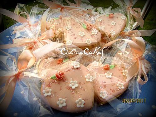 PeachHeart Wedding cookies