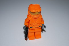 HALO Orange Spartan (legohalflife) Tags: orange game soldier video lego fig halo pistol figure minifig custom magnum spartan m6d