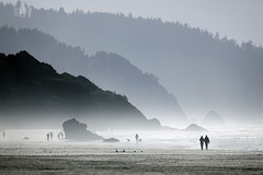 A set of blues (sparth) Tags: cliff mountains beach oregon canon october rocks silhouettes cliffs 300mm telephoto cannon cannonbeach plage progression 56 2010 x2 300mm28l 600mm 5dmkii