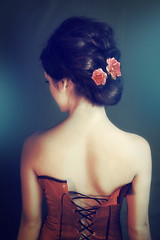 More Daniela :) (ilina s) Tags: red portrait woman flower classic rose hair back soft hairdo fair seductive updo corsette