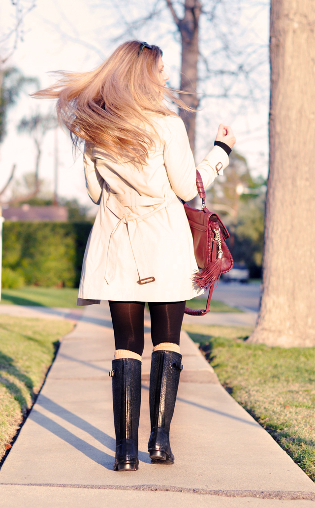 burberry trench coat, long hair, straight hair, blonde hair, blond, blondes, la blogs, los angeles, hunter boots, DSC_0192