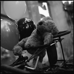 I'm not sure if I love you anymore (I) (zero239) Tags: blackandwhite bw abandoned 120 film zeiss mediumformat balloons lost toys julian missing child outdoor tricycle hasselblad teddybear kodaktmax400 wideopen 80mm selfdeveloped hasselblad500cm zeissplanar bokehlicious julianoh