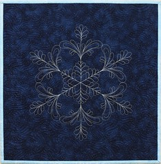 Night Snow (emma_louise) Tags: snowflake blue original winter snow art night silver quilt crystal navy feathers mini sparkle quilting fiberart mctavish homedecor dollquilt miniquilt fibreart mctavishing fmq wholecloth sampaguitaquilts