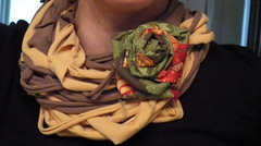 Tshirt Scarf with flower pin