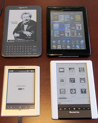 Kindle 3, Pandigital Color, Sony Daily Reader, Pandigital Black & Whilte