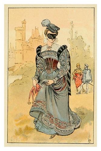 018-Dama de la epoca de Carlos IX-Mesdames nos aieules dix siecles d'elegances 1800- Albert Robida