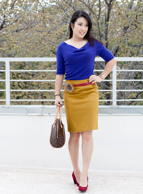 purple tunic j. crew double serge pencil skirt ochre LOFT feather flower pin red belt bp gabby red pumps louis vuitton ellipse michael kors rose gold watach mk5430