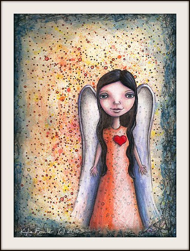 Angel with Abstract background by Blissful Pumpkin