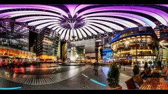 Sony Center/Postdamer Platz (Marcus Klepper - Berliner1017) Tags: city light panorama cinema color berlin night canon germany deutschland lights cafe kino colorful mosaic widescreen sony centre grau ps lila gelb 7d potsdamerplatz np blau zentrum farbe mitte innenraum spiegelung dri farbig hdr zelt bunt imax beleuchtung hdri lichter glasfassade 10mm pflastersteine weis verzerrung cinestar photomatix tonemapping berdachung belechtung nodalpunkt