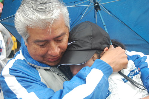 Cindy Embraces Her Father After Completing the 2011 LA Marathon