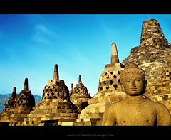 Wonders of the Upper Terrace #1 | Borobudur | Central Java (I Prahin | www.southeastasia-images.com) Tags: travel film tourism monument stone sunrise canon indonesia java asia southeastasia buddhist statues buddhism lord unesco dome yogyakarta spiritual pilgrimage borobudur pilgrim attraction platforms worldheritage magelang borobodur gettyimagessoutheastasiaq1 perforatedstupa worldswondersworld heritage35mm
