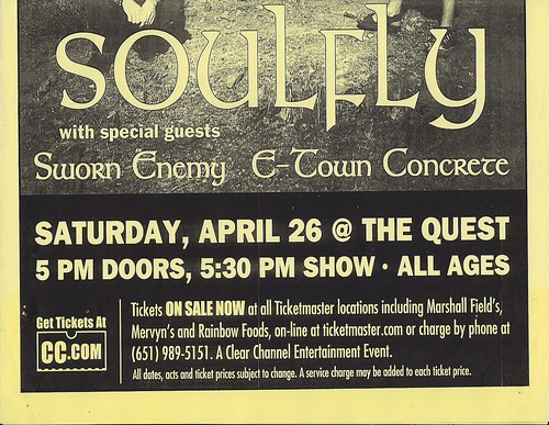 04/26/03 Soulfly/Sworn Enemy/E-Town Concrete @ Minneapolis, MN (Bottom)
