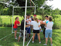 Students in team building exercise