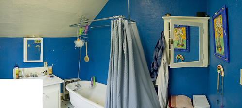 The new bathroom, it is blue