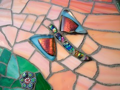 Stained glass and glass tile mosaic house number  (number 17)  Grouted (fiona parkes) Tags: flowers sunset glass dragonfly handmade mosaics stainedglass stained tiles 17 housename housenumber grout millefiori glasstiles stainedglassmosaic housenumber17