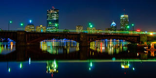 Longfellow Bridge & Boston Skyline at Night (panorama)