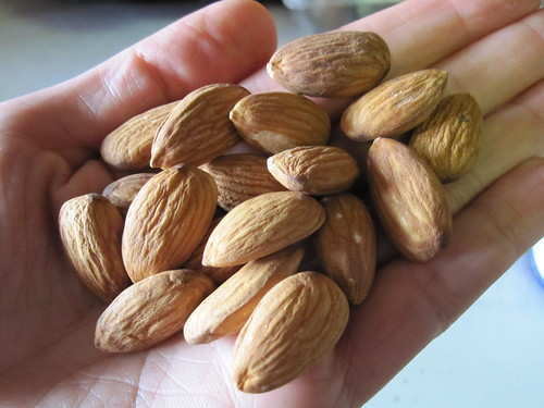 Snack of raw almonds