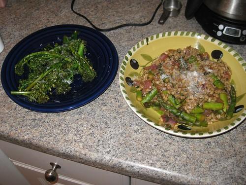 Asparagus risotto, broccolini